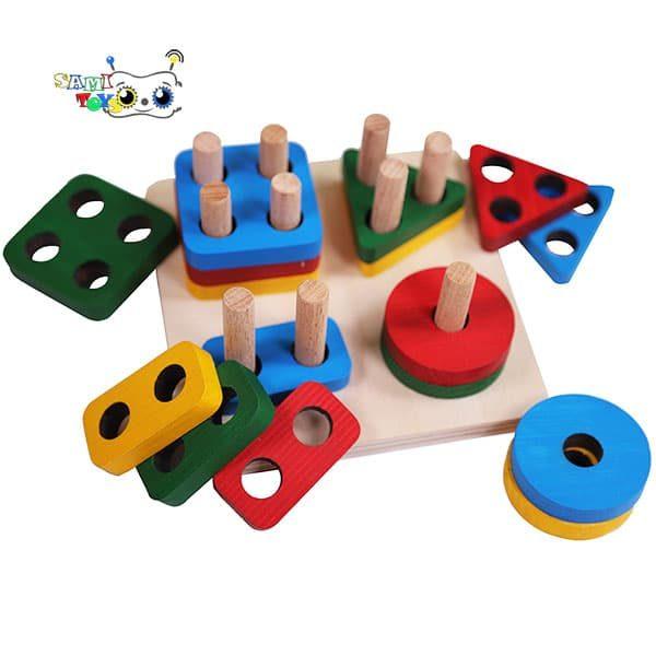 بازی آموزشی مونته سوری شمارش مربع – منتسوری چوبی جایگذاری اشکال