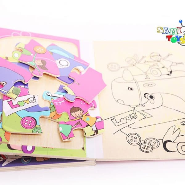 پازل کتابی نقاشی با ماژیک رنگارنگ