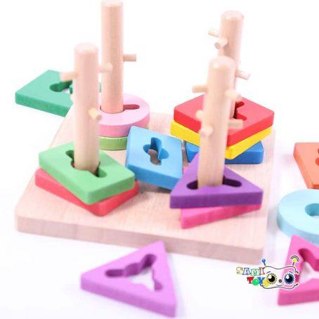 بازی اشکال هندسی مونته سوری ماج چهار ستونه