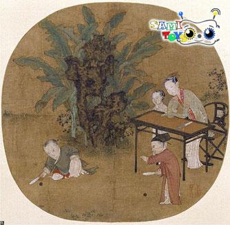 نقاشی هنرمند چینی سو هانچن در مورد بازی با توپ بچه ها
