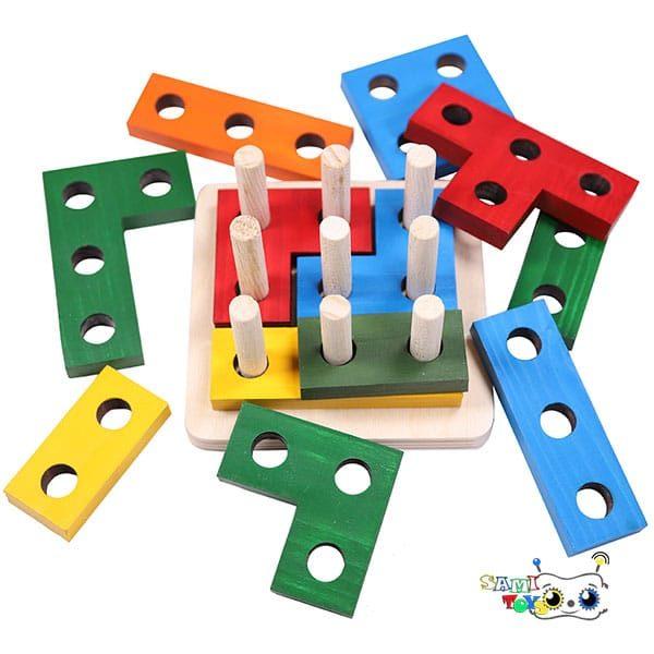 اسباب بازی بلوک های هندسی ساختنی مونته سوری