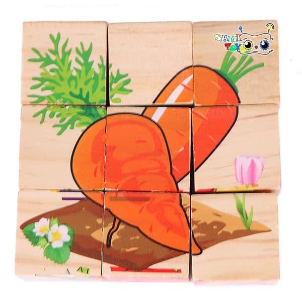 خرید پازل مکعبی چوبی اشکال میوه
