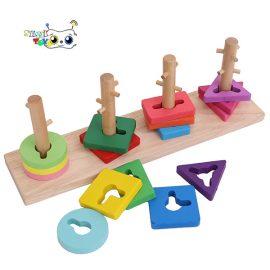 بازی آموزشی مونته سوری چوبی مستطیل اشکال هندسی