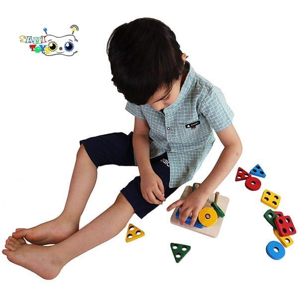 بازی آموزشی مونته سوری چوبی جایگذاری اشکال
