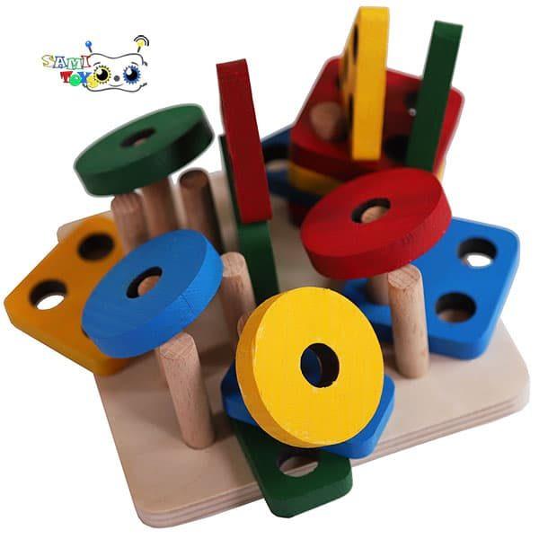 بازی چوبی مونته سوری جایگذاری اشکال