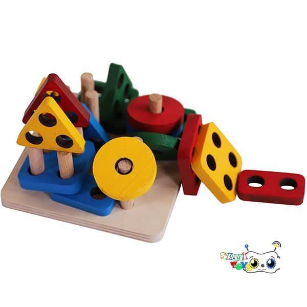 خرید اسباب بازی آموزشی مونته سوری چوبی جایگذاری اشکال